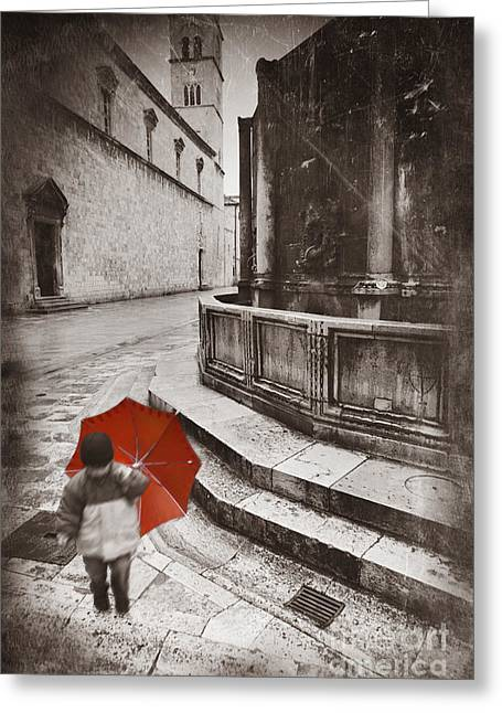 Boy With Umbrella Greeting Card by Rod McLean