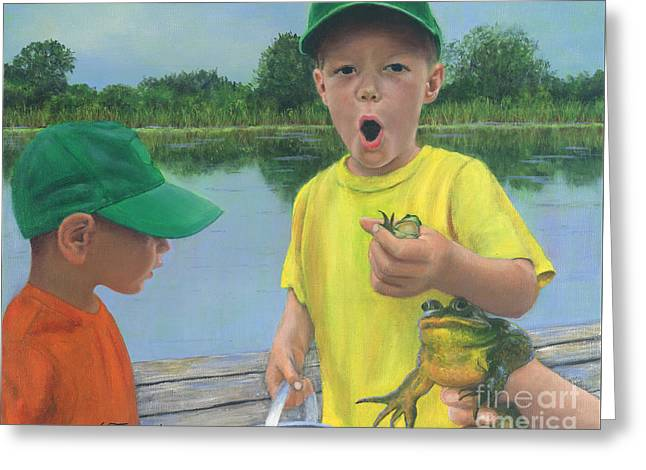 Boys And Frogs Greeting Card