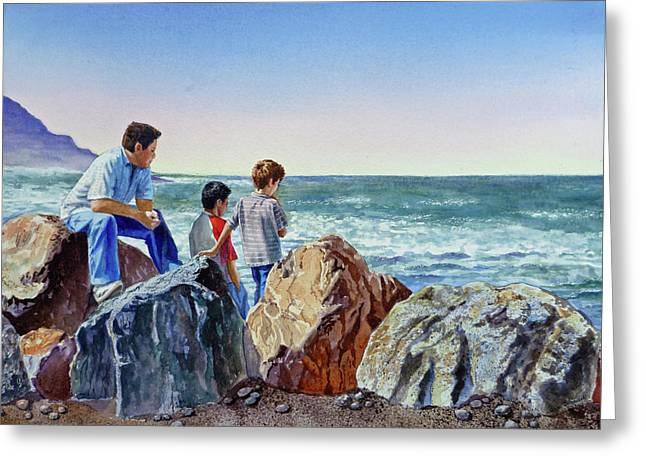 Boys And The Ocean Greeting Card by Irina Sztukowski