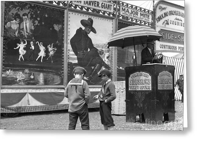 Boys At Circus Entrance, C.1920s Greeting Card by H. Armstrong Roberts/ClassicStock