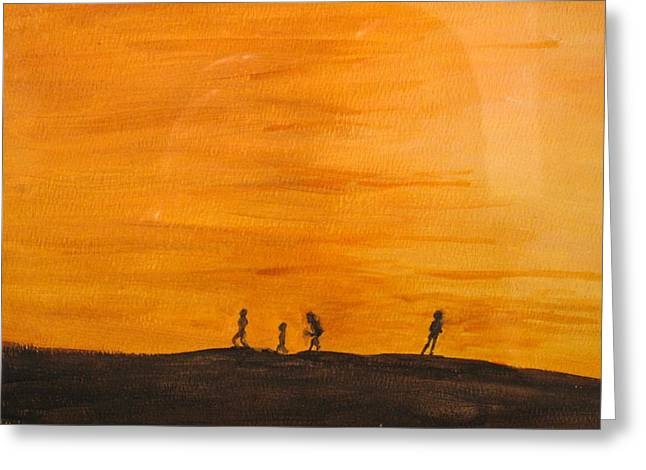 Greeting Card featuring the painting Boys At Sunset by Ian  MacDonald