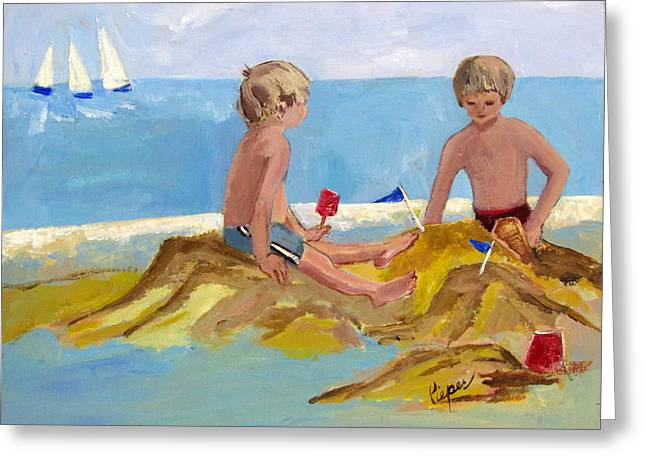 Boys At The Beach Greeting Card by Betty Pieper
