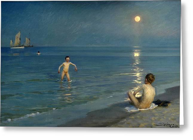 Boys Bathing At Skagen. Summer Evening Greeting Card