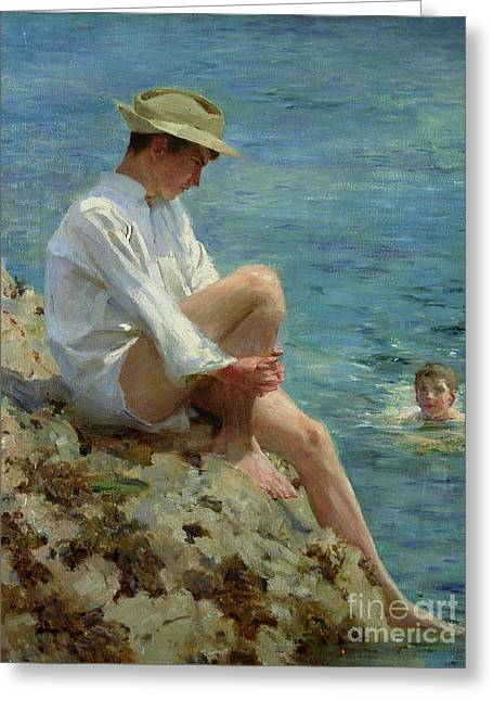 Boys Bathing Greeting Card by Henry Scott Tuke