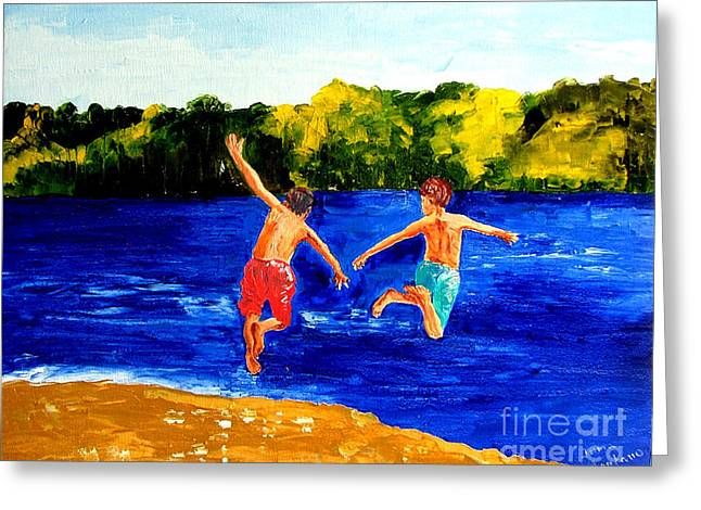 Boys By The River Greeting Card by Inna Montano