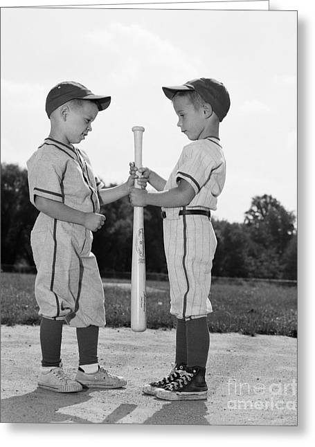 Boys Choosing Sides In Baseball Game Greeting Card by H. Armstrong Roberts/ClassicStock
