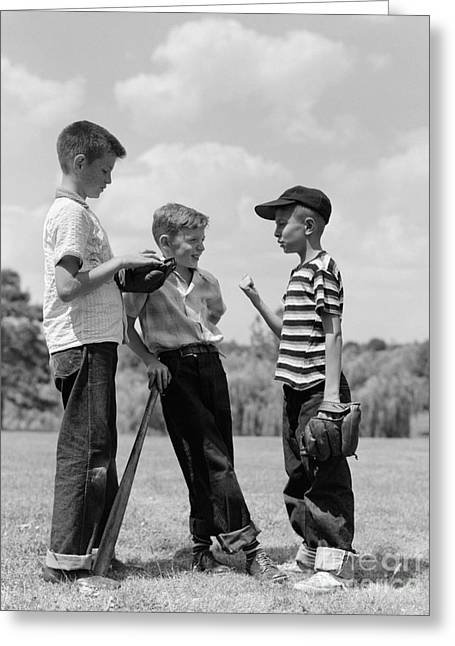 Boys Discussing Baseball, 1950s Greeting Card by H. Armstrong Roberts/ClassicStock