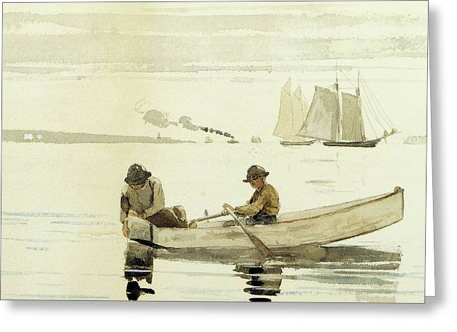 Boys Fishing, Gloucester Harbor, 1880  Greeting Card by Winslow Homer
