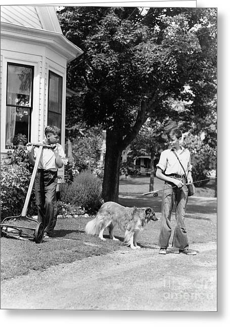 Boys Mowing Lawn And Going Fishing Greeting Card by H. Armstrong Roberts/ClassicStock