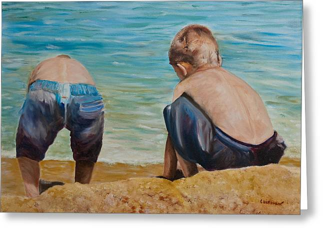 Boys On A Beach Greeting Card