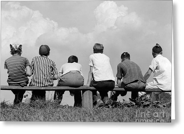 Boys On A Bench, C. 1960s Greeting Card