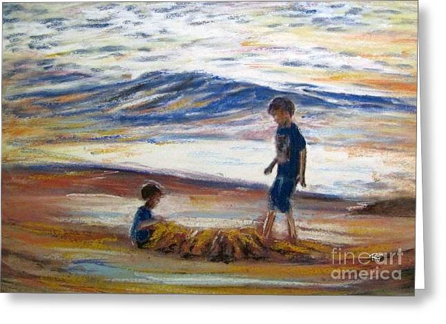 Boys Playing At The Beach Greeting Card