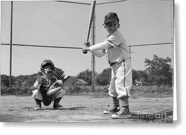 Boys Playing Baseball, C. 1960s Greeting Card by H. Armstrong Roberts/ClassicStock