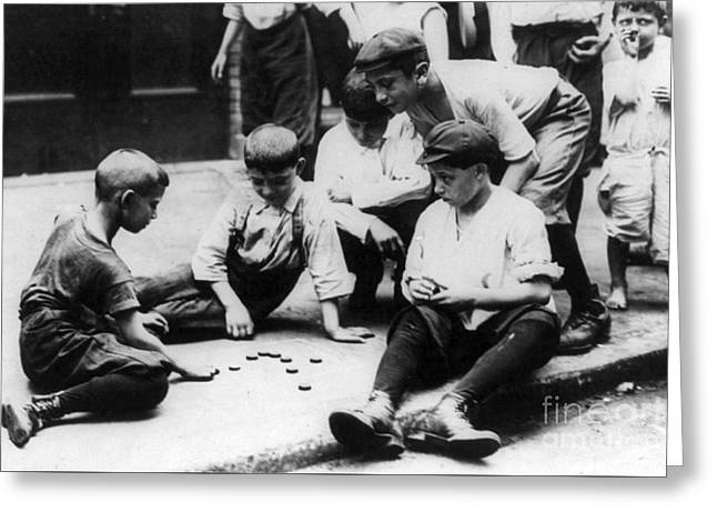 Boys Playing Checkers, Nyc, 20th Century Greeting Card by Science Source