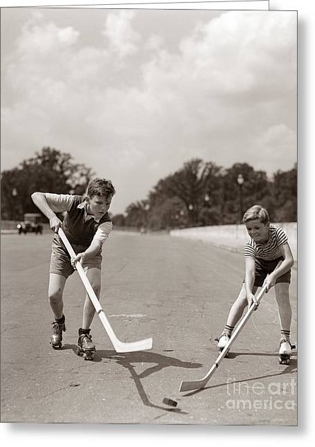 Boys Playing Street Hockey, C. 1930s Greeting Card