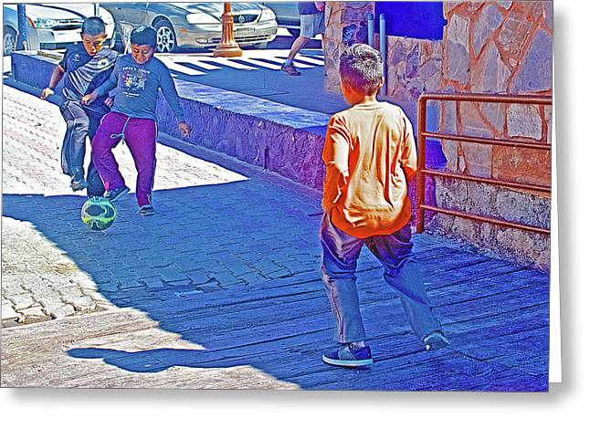 Boys Playing With A Soccer Ball On The Malecon In Puerto Penasco In Sonora-mexico Greeting Card