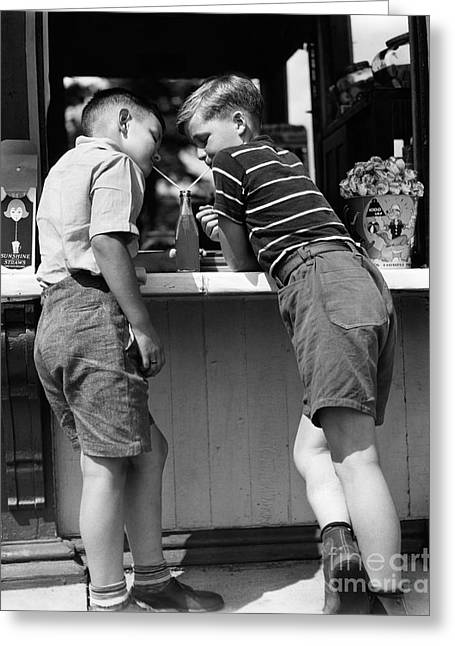 Boys Sharing A Soda With Two Straws Greeting Card