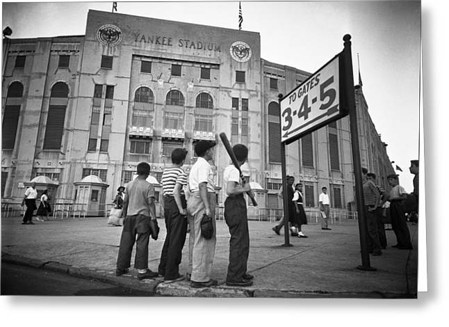 Boys Staring At Yankee Stadium Greeting Card