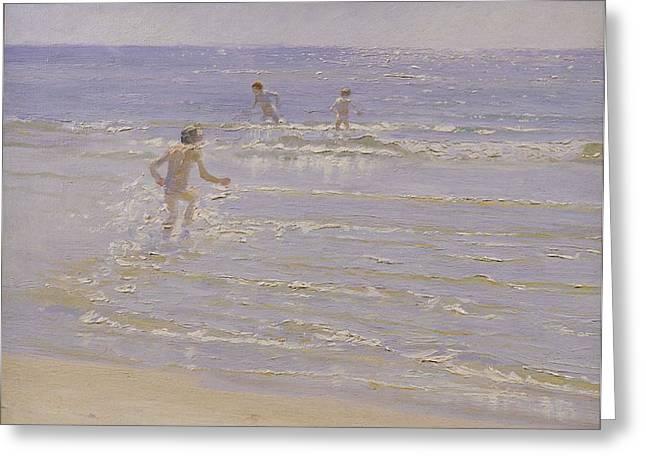 Boys Swimming Greeting Card