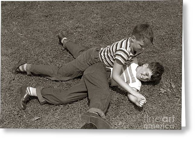 Boys Wrestling, C.1950s Greeting Card by H. Armstrong Roberts/ClassicStock