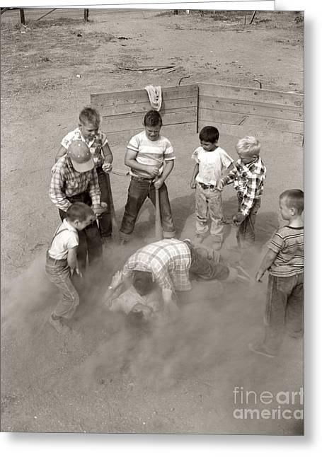 Boys Wrestling In Dust On Sand Lot Greeting Card by D. Corson/ClassicStock