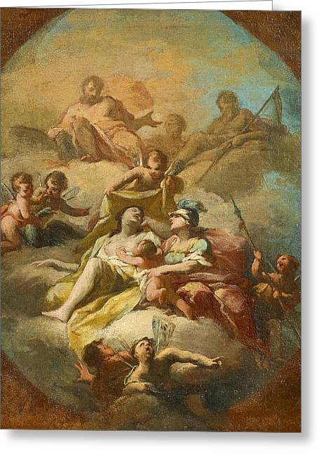 Bozetto For A Portrayal Of Gods With Zeus Cronus And Athena Greeting Card by Giovanni Antonio Cucchi