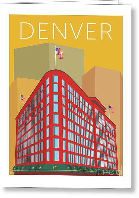 Greeting Card featuring the digital art Denver Brown Palace/gold by Sam Brennan