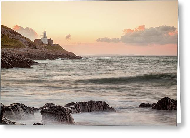 Greeting Card featuring the photograph Bracelet Bay And The Mumbles Lighthouse by Colin and Linda McKie