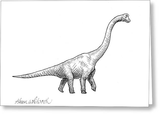Greeting Card featuring the drawing Brachiosaurus Black And White Dinosaur Drawing  by Karen Whitworth