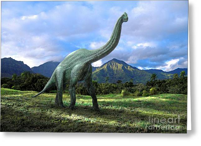 Dinosaur Greeting Cards - Brachiosaurus In Meadow Greeting Card by Frank Wilson