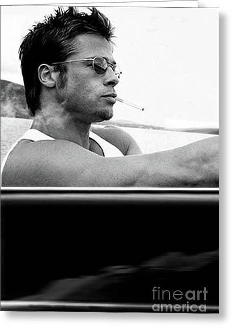 Brad Pitt Driving Along The  Pacific Coast Highway In A 1958 Porsche 356a 1600 Speedster Greeting Card by Thomas Pollart