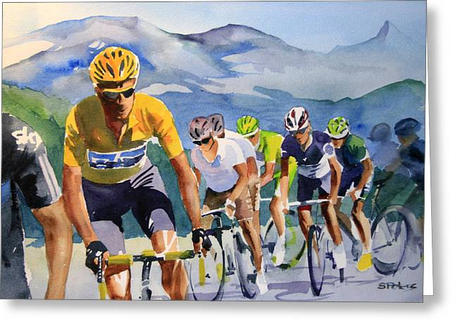 Wiggins Greeting Cards - Brad Wiggins in Yellow Greeting Card by Shirley  Peters