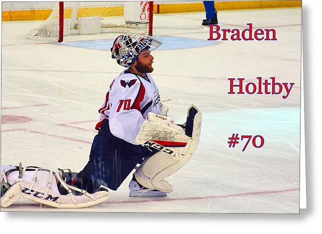 Braden Holtby #70 Greeting Card by Lisa Wooten