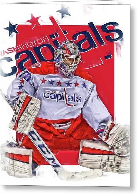 Braden Holtby Washington Capitals Oil Art Greeting Card