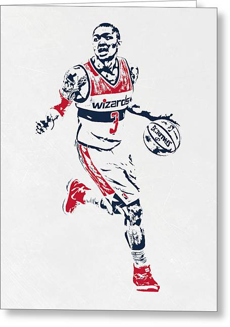 Bradley Beal Washington Wizards Pixel Art Greeting Card by Joe Hamilton