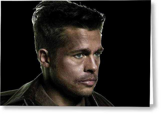 Brads Pitt As Lt Aldo Paine Publicity Photo The Inglourious Bastards 2009 Color Added 2016 Greeting Card by David Lee Guss