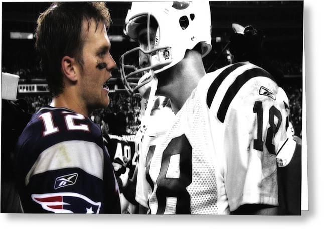 Brady And Manning Stare Down Greeting Card by Brian Reaves