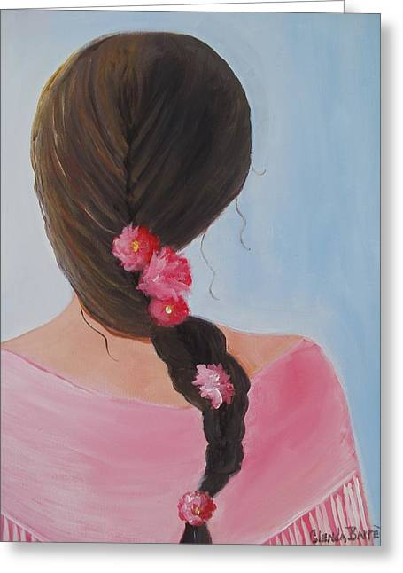 Braided Hair Greeting Card by Glenda Barrett