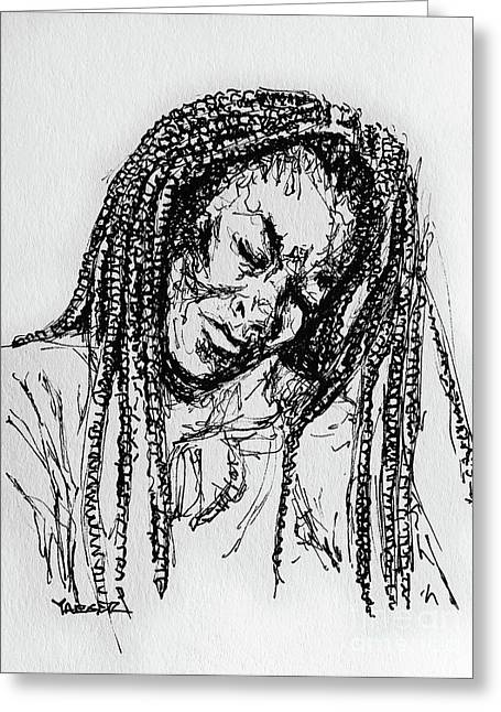 Braids And The Blues Greeting Card by Robert Yaeger