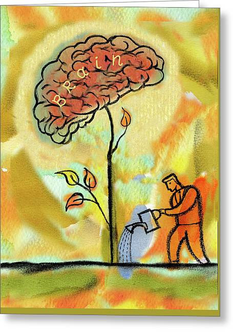 Brain Care Greeting Card by Leon Zernitsky