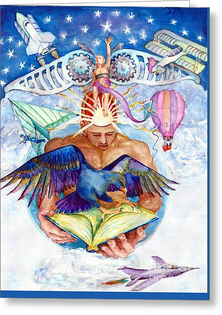 Brain Child Greeting Card by Melinda Dare Benfield