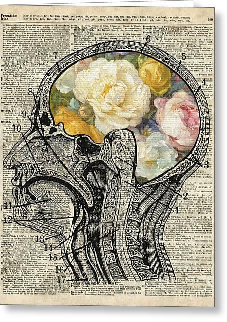 Brain Full Of Flowers Dictionary Art Greeting Card