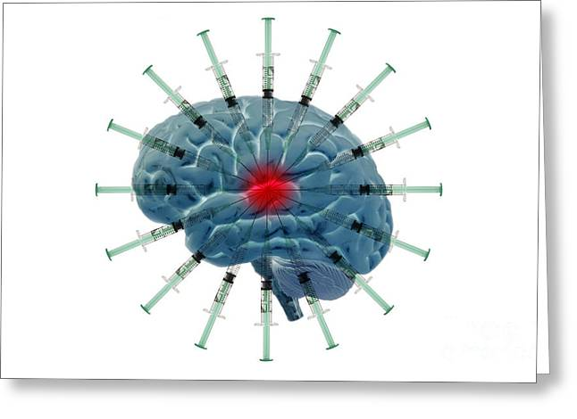 Brain With Syringes Greeting Card