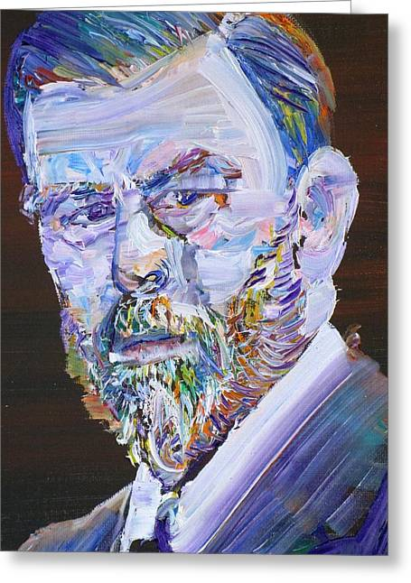 Greeting Card featuring the painting Bram Stoker - Oil Portrait by Fabrizio Cassetta