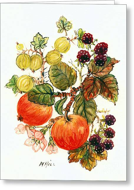 Brambles, Apples And Grapes  Greeting Card