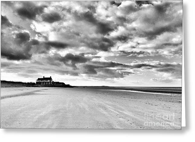 Brancaster Beach Mono Greeting Card by John Edwards