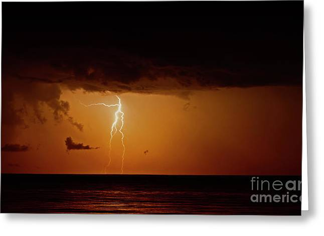 Greeting Card featuring the photograph Branch Lightning Over Lake by Charline Xia