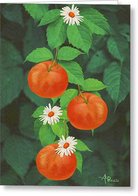 Branch Of Mandarin Orange Greeting Card by Angeles M Pomata