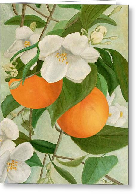 Greeting Card featuring the painting Branch Of Orange Tree In Bloom by Angeles M Pomata