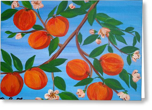 Branch Of Peaches Greeting Card by Elizabeth Janus